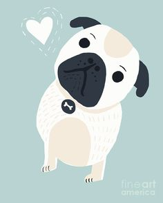 Cute Little Pug. Illustration Nursery Art Children Decor by MrPaws decor wall Decor