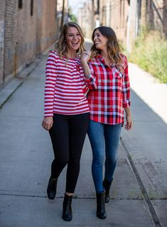 Jackie is wearing the Ladies @ugapparel Striped Long Sleeve ($55) and Skylar is wearing the University Girls Boyfriend Plaid ($60). Shop these looks at our Michigan Avenue location! 🛍 Blackhawks Store, University Girl, Michigan, Boyfriend, Plaid, Brand New, Long Sleeve, Girls, How To Wear