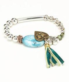 Look at this #zulilyfind! Turquoise & Silver Tassel Stretch Bracelet #zulilyfinds