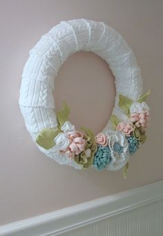 cable knit and fabric flowers ... very soft and pretty!  :)