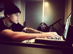 Justin Bieber stays up late working on new music for his fans!