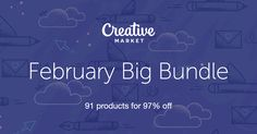 Check out February Big Bundle on Creative Market - 91 products for 97% Perfect way for every graphic designers to build up their toolkit with beautiful fonts, patterns, stock photos, mockups, icons, graphics and templates! This is a total steal!