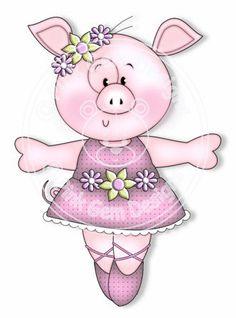Digi Stamp Ballerina Pig - Birthday Card, Party Invitations, etc