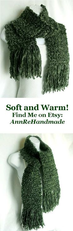 Soft, light, one-of-a-kind scarf made with a beautiful bluish pine green yarn.  Crocheted by Ann'Re Handmade.