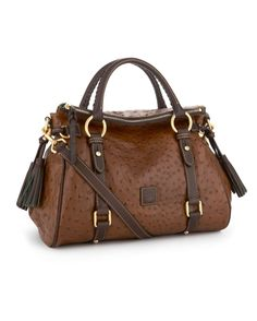 Dooney & Bourke Ostrich-Embossed Florentine Small Satchel - Cognac/Brown