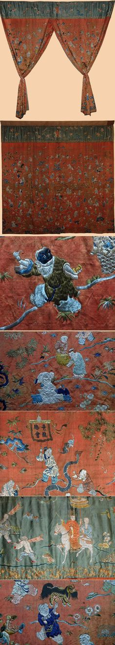 Antique Chinese Textile. Silk embroidery wall hanging depicting 100 boys.    1750-1850 A.D