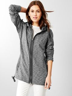 Marled drawstring tunic hoodie -- I am not allowed to add another hoodie to my collection but I love the length on this one as well as the oversized zipper.