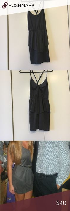 Grey mini dress  FINAL PRICE DROP Perfect condition grey suede-like mini dress. Worn once. Very flattering and crisscross back. Looks cute plain or with a belt Lulu's Dresses Mini
