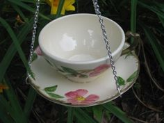 Repurposed China teacup birdbath bird bath birdfeeder