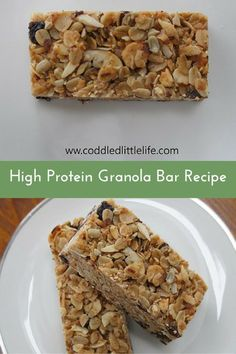 High Protein Granola Bar Recipe|The Holy Mess. If you are looking for a granola bar recipe that is high in protein the natural way, look no further! No powders or unnatural ingredients in these heavenly bars. Click for recipe.