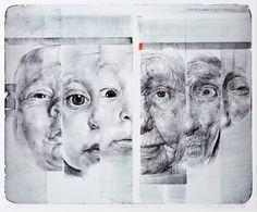 Pages from Fine Art sketchbook on the topic of Baby. Studies in pencil, acrylics, red biro and black fineliner. A Level Art Sketchbook, Arte Sketchbook, Moleskine, Arte Gcse, Art Alevel, Illustration, Art Plastique, Portrait Art, Art Inspo