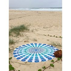 DI-SN-EY Trendy Cool Dustproof Round Beach Towel 59 in White Comfortable Breathable