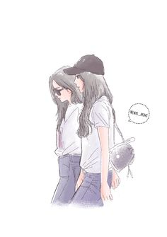 Jennie x jisoo Bff Drawings, Drawings Of Friends, Friend Anime, Anime Best Friends, Cool Anime Girl, Anime Art Girl, Girl Cartoon, Cartoon Art, Cover Wattpad