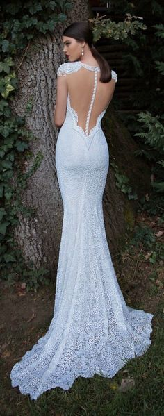 This is probably my depiction of the perfect wedding dress: Lace Pearls, and Open Back. Perfection Stunning Berta Wedding Dress Collection 2015 (Part 2015 Wedding Dresses, Wedding Attire, Bridal Dresses, Wedding Gowns, Bridesmaid Dresses, Wedding Blog, Wedding Ideas, Trendy Wedding, Wedding Reception