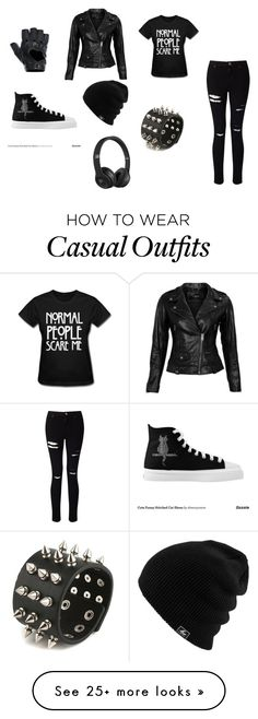 """""""Black casual clothing"""" by brisa-rubio on Polyvore featuring Miss Selfridge, VIPARO, FRACOMINA and Beats by Dr. Dre"""