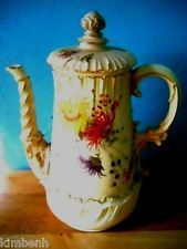 "RARE! Elegant Antique Royal ""Blush Ivory"" Worcester Coffee Pot with Lid-Pruce"