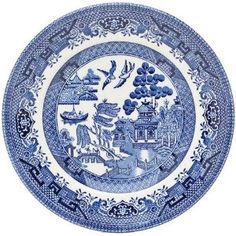 Churchill Willow Blue Dinner Plates Set Of 6 New Home Office Daily Use