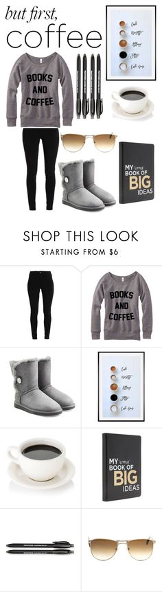 """But First, Coffee"" by julia3214 ❤ liked on Polyvore featuring UGG, Pottery Barn, Paper Mate and Persol"