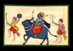 Yama on his buffalo mount. Painted in Pune, c1800-1805