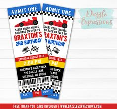 Printable Race Car Ticket Birthday Invitation | NASCAR | Hot Wheels Party | Boy Birthday Party Idea | FREE thank you card included  | Matching Party Package Available! Banner | Cupcake Toppers | Favor Tag | Food and Drink Labels | Signs | Candy Bar Wrapper