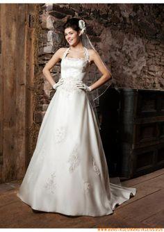Schöne Brautkleider aus Satin mit Applikation A-Linie mit langer Schleppe 2013