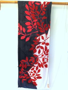 Hand Painted SIlk Shawl. Handmade Silk Scarf. Black Red Leaves Silk Scarf. Black Silk Scarf. Silk Crepe. Silk Dye. 22x90 in. Made to Order.. $248.00, via Etsy.