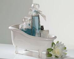 Deko-Schale Badewanne aus Keramik weiß für Badeperlen, Seife, Parfum etc. 25 x 14 cm