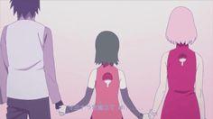 Sasuke, Sakura and Sarada - Naruto Boruto And Sarada, Sasuke Sakura Sarada, Narusaku, Sasunaru, Naruto Gaiden, Naruto Shippuden, Anime Naruto, Naruto Family, Sasuhina