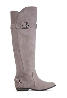 Make JF Misha by JustFab your new go-to! She's a tall, flat boot featuring strap and hardware detail at the ankle and shaft.