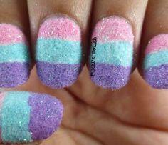 Nail art tutorial: cotton candy nails - nail it! Glitter Acrylics, Powder Glitter Nails, Glitter Nail Art, Powder Nails, Pretty Nail Colors, Pretty Nail Designs, Simple Nail Designs, Pretty Nails, Nail Art Designs