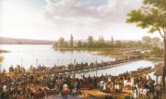 Napoleon leading his troops during the crossing of the Danube before the Battle of Wagram, july 1809