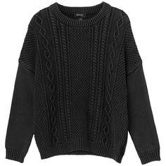 Monki Pam knit (€35) ❤ liked on Polyvore featuring tops, sweaters, jumpers, shirts, black denim wash, black shirt, black jumper, oversized boyfriend shirt, oversized jumper and oversized boyfriend sweater