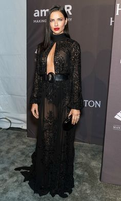 Adriana Lima went for an all black look with the help of Zuhair Murad during the 19th Annual amfAR New York Gala.