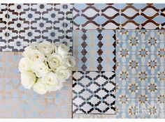 Assorted Moroccan tiles from Ann Sacks & Renaissance Tile & Bath. Atlanta Homes & Lifestyles. Photo by Erica George Dines.