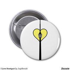 I Love Stuttgart Runder Button 5,1 Cm #stuttgart #heimatliebe #landeshauptstadt #stuggi #fernsehturm #wahrzeichen #trendy #chic #stgt #baden #württemberg #0711 #pin #button #anstecker
