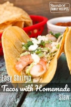 These Shrimp Tacos are piled high with tasty, plump shrimp, homemade slaw and tangy cilantro dressing layered in warm corn tortillas. A healthy, easy summer supper or the perfect party food! Seafood Recipes, Appetizer Recipes, Party Recipes, Summer Recipes, Easy Family Meals, Easy Meals, Family Recipes, Popular Recipes, Popular Food