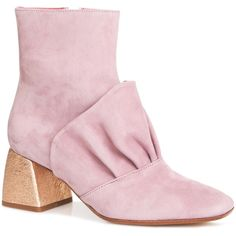 Beau Coops x Romance Was Born     Adalene Leather Bootie (3.970 DKK) ❤ liked on Polyvore featuring shoes, boots, ankle booties, pink, short boots, genuine leather boots, bootie boots, real leather boots and leather boots