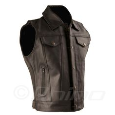 Get all the protection you need with one of our men's leather motorcycle vests. They're available in various styles & sizes. Mens Leather Waistcoat, Leather Biker Vest, Leather Jeans, Leather Jackets, Motorcycle Vest, Adventure Outfit, Leather Company, Vest Outfits, Motorcycle Accessories