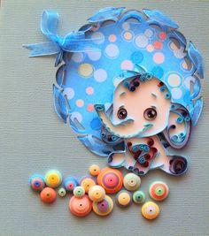 Quilling Seasons: Слон бонбон Картичка за бебенце - 15 х 20 см - ни...