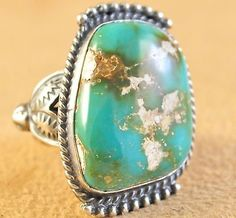 Sterling-Silver-Royston-Turquoise-Handmade-Navajo-Ring-Signed-By-Kelly-Morgan