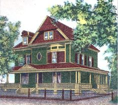 Victorian Exterior House Paint Schemes | Queen Anne Victorian colors from the 1880s