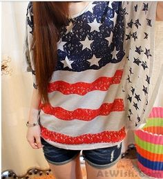 Wow~ Awesome Retro USA Flag Bat Sleeve Shirt  Loose Leisure Tops! It only $22.99 at www.AtWish.com! I like it so much<3<3!
