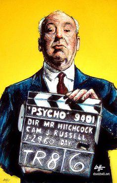 Print 11x17 - Alfred Hitchcock - Psycho Vintage Director Cinema Noir Suspense Horror Classic Norman Bates Serial Killer Dark. $15,00, via Etsy.