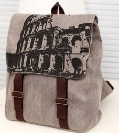 New vintage Roman Colosseum pattern canvas backpack, leisure unisex sports rucksack, wholesale women school/traveling bags
