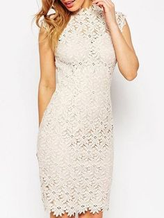 High Waist Hollow Out Lace Remarkable Band Collar Bodycon Dress #ClothingOnline #PlusSizeWomensClothing #CheapClothing #FashionClothing #womenswear #sexydress #womensdress #womenfashioncasual #womensfashionforwork  #fashion #womensfashionwinter