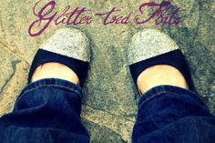 DIY Glitter-toed Flats - great idea for the shoes where the girls have already roughed-up the toes
