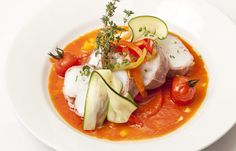 Gigot of monkfish with tomato and pepper sauce