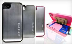 iPhone case that has storage for credit cards, IDs, and cash in back compartment! genius!