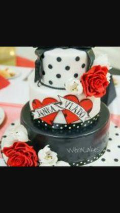 Rockabilly Th Birthday Cake Gold Highlights Cherries Leopard - Rockabilly birthday cake