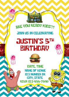 spongebob squarepants invitation customized printable chalkboard, party invitations